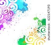 watercolor summer background.... | Shutterstock .eps vector #622147193