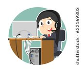 female operator in circle | Shutterstock .eps vector #622169303