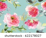 peonies seamless watercolor... | Shutterstock . vector #622178027