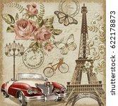 paris vintage postcard. | Shutterstock . vector #622178873