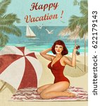 vintage vacation background... | Shutterstock . vector #622179143