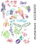 watercolor painted collection.... | Shutterstock . vector #622182653