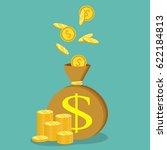 money saving and money bag... | Shutterstock .eps vector #622184813