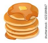 fresh tasty hot pancakes with... | Shutterstock .eps vector #622184867