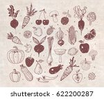 doodle fruits and vegetables on ... | Shutterstock .eps vector #622200287