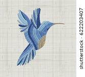 embroidery blue bird. vector... | Shutterstock .eps vector #622203407