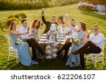 merry wedding in nature. guests ... | Shutterstock . vector #622206107