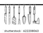 a set of kitchen accessories... | Shutterstock .eps vector #622208063