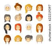 women with rosy cheeks. vector... | Shutterstock .eps vector #622219397
