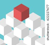 isometric red unique leader... | Shutterstock .eps vector #622227677
