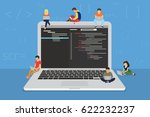 young programmers coding a new... | Shutterstock . vector #622232237