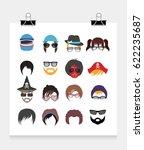 hair  beard  hat sunglasses... | Shutterstock .eps vector #622235687