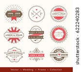 retro modern hipster wedding... | Shutterstock .eps vector #622240283