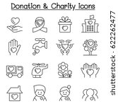 donation   charity icon set in... | Shutterstock .eps vector #622262477