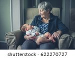 a grandmother is sitting at... | Shutterstock . vector #622270727