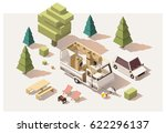 vector isometric low poly... | Shutterstock .eps vector #622296137