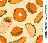 fast food seamless pattern.... | Shutterstock .eps vector #622296593
