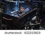 burning fire for grilling the... | Shutterstock . vector #622315823