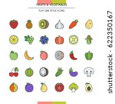 fruits and vegetables flat line ... | Shutterstock .eps vector #622350167