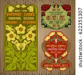 vector vintage items  label art ... | Shutterstock .eps vector #622351307