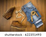 flat lay of casual set of... | Shutterstock . vector #622351493