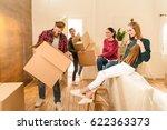 cheerful friends holding... | Shutterstock . vector #622363373