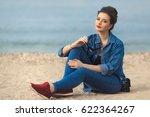 denim outfit fashion details....   Shutterstock . vector #622364267