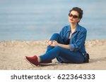 denim outfit fashion details.... | Shutterstock . vector #622364333