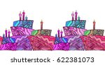 seamless border with  cake... | Shutterstock .eps vector #622381073