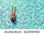 female snorkeler in turquoise... | Shutterstock . vector #622400483