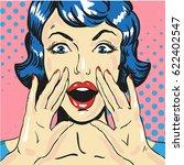 woman screaming announcing news ... | Shutterstock .eps vector #622402547