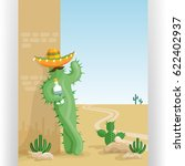 funny cactus with tequila and... | Shutterstock .eps vector #622402937