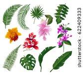 set of tropical flowers bouquet.... | Shutterstock .eps vector #622409333