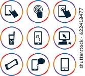 touchscreen icons set. set of 9 ... | Shutterstock .eps vector #622418477