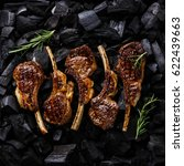 grilled lamb ribs on black... | Shutterstock . vector #622439663