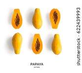 seamless pattern with papaya.... | Shutterstock . vector #622439993