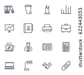 set of 16 service outline icons ... | Shutterstock .eps vector #622443053