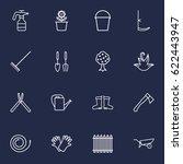 set of 16 farm outline icons... | Shutterstock .eps vector #622443947