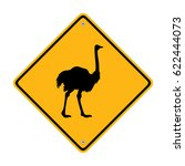 warning ostrich ahead road sign ...   Shutterstock .eps vector #622444073