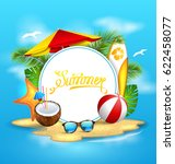 summer background with sea ... | Shutterstock .eps vector #622458077