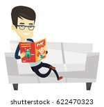 young asian man reading a... | Shutterstock .eps vector #622470323