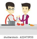 asian men following recipe for... | Shutterstock .eps vector #622473953