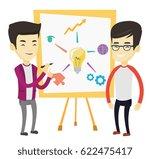 young asian student explaining... | Shutterstock .eps vector #622475417