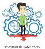 asian man standing on three... | Shutterstock .eps vector #622479797
