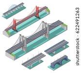 bridges isometric set above... | Shutterstock .eps vector #622491263