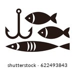 fishing hook and fishes.... | Shutterstock .eps vector #622493843