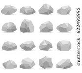 stones  a set of gray stones.... | Shutterstock .eps vector #622493993