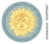 hand drawn sun with face and... | Shutterstock .eps vector #622495667