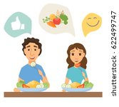 couple eating healthy food. man ... | Shutterstock .eps vector #622499747
