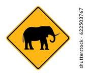 warning sign elephant crossing...   Shutterstock .eps vector #622503767